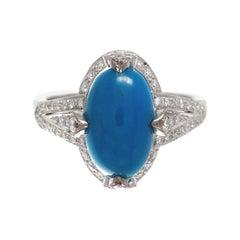 18 Karat White Gold Turquoise Diamond Cocktail Ring