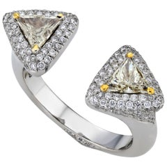18K White Gold Two 0.76 Carat VS Triangle Diamond Ring