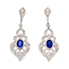 18k White Gold Vintage Look Sapphire & Diamond Drop Earrings