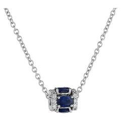 18K White Gold, White Diamond, and Blue Sapphire Pendant Necklace