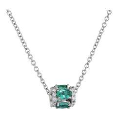 18k White Gold, White Diamond, and Emerald Pendant