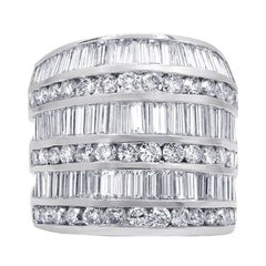 18 Karat White Gold Wide Classic Diamond Ring