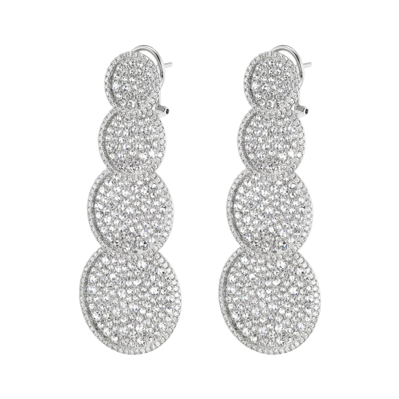 18K White Gold with Diamond Dangle Earrings