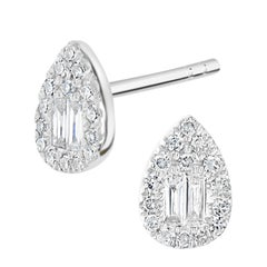 18k White Gold with Diamond Pear Stud Earrings