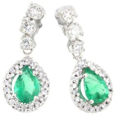 18k White Gold with Emerald and White Diamonds Earrings