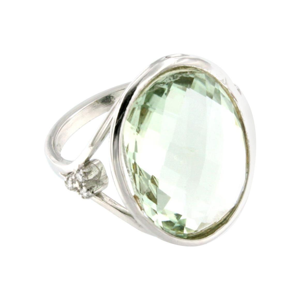 18k White Gold with Prasiolite and White Diamonds Ring