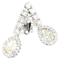 18k White Gold with Yellow Diamonds and White Diamonds Earrings