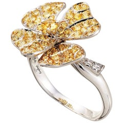 18 Karat White Gold Yellow Sapphires Ring Aenea Jewellery
