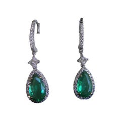 18k White Gold, Zambian Emerald & Diamond Earrings