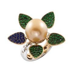 18K White/Rose Gold, Diamonds, Sapphires, Tsavorites, Pearl, Ring