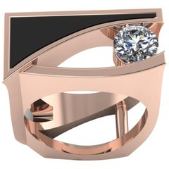 18 Karat White and Rose Gold Ring with .65 Carat of F Color VVS1 Diamonds