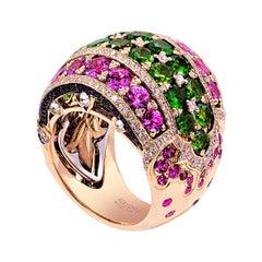 18K White/Rose Gold, Sapphires, Diamonds, Demantoid, Ring