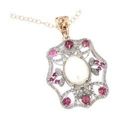 18k White Rose Gold with Tourmaline Pearl and White Diamonds Chain with Pendant