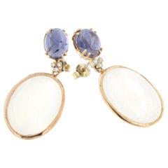 18k White Rose Gold with White Moonstone Iolite White Diamonds Earrings