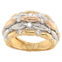 18K White, Yellow and Pink Gold Ring with Diamonds