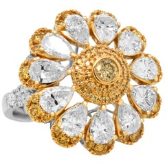 18k White Yellow Gold Pear Shape White Fancy Yellow Diamond Floral Cocktail Ring