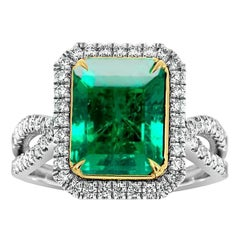 18K White & Yellow Gold Rectangular Green Emerald Diamond Ring 'Center 3.90 CT'