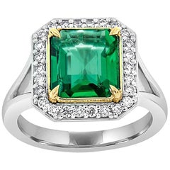 18K White & Yellow Gold Sharon Halo Square Green Emerald Ring 'Center 4.08 ct.'