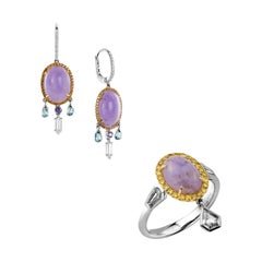 18K White/Yellow/Rose Gold, Diamonds, Sapphires, Jades, Set 'Earrings and Ring'