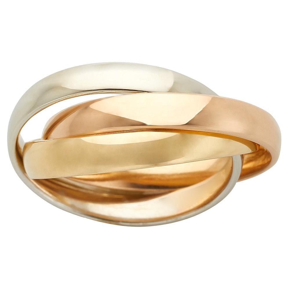 18k White Yellow & Rose Gold Trinity Band Ring