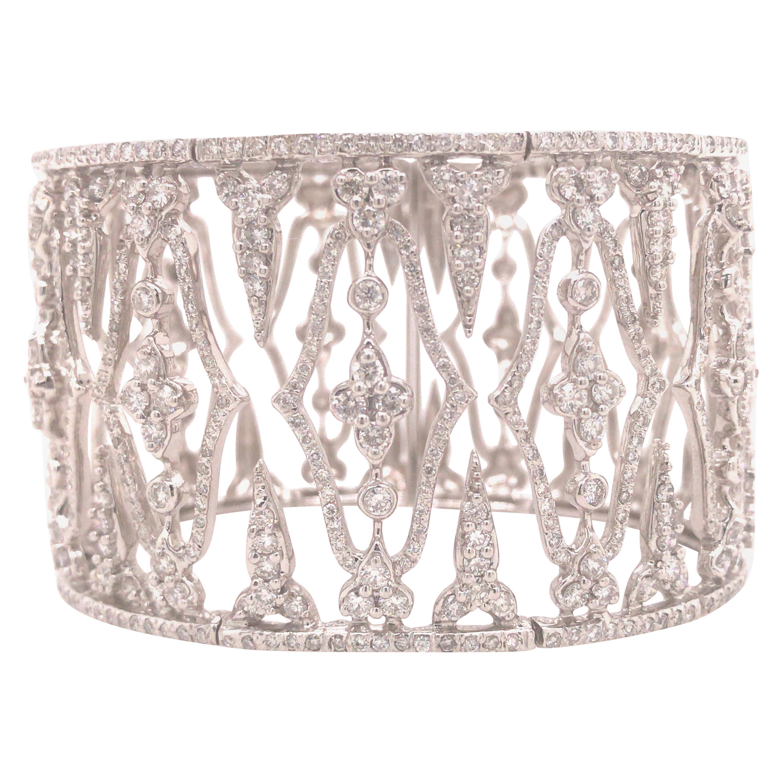 18K Wide, Open Space Diamond Bangle Cuff White Gold