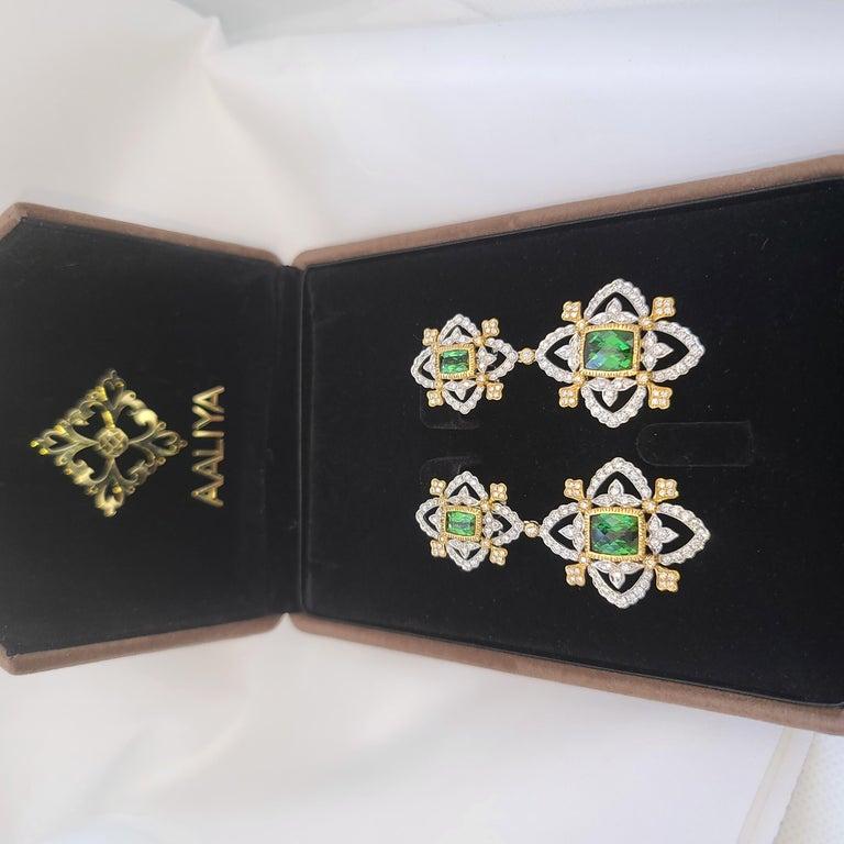 Modern 18K WY Gold Diamonds and Green Tourmaline Goddess Drop Dangle Earrings One Piece For Sale