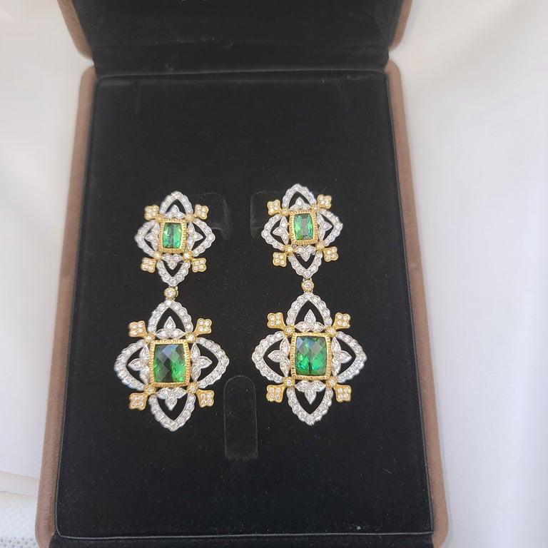 Emerald Cut 18K WY Gold Diamonds and Green Tourmaline Goddess Drop Dangle Earrings One Piece For Sale
