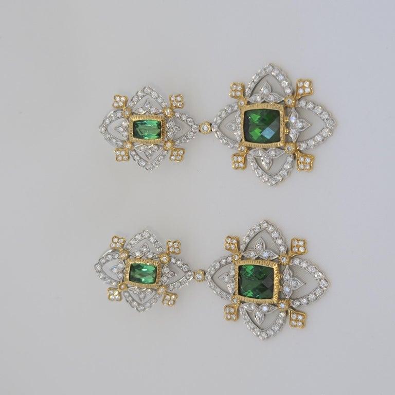 Women's 18K WY Gold Diamonds and Green Tourmaline Goddess Drop Dangle Earrings One Piece For Sale