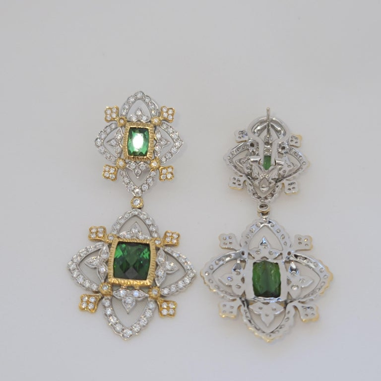 18K WY Gold Diamonds and Green Tourmaline Goddess Drop Dangle Earrings One Piece For Sale 1