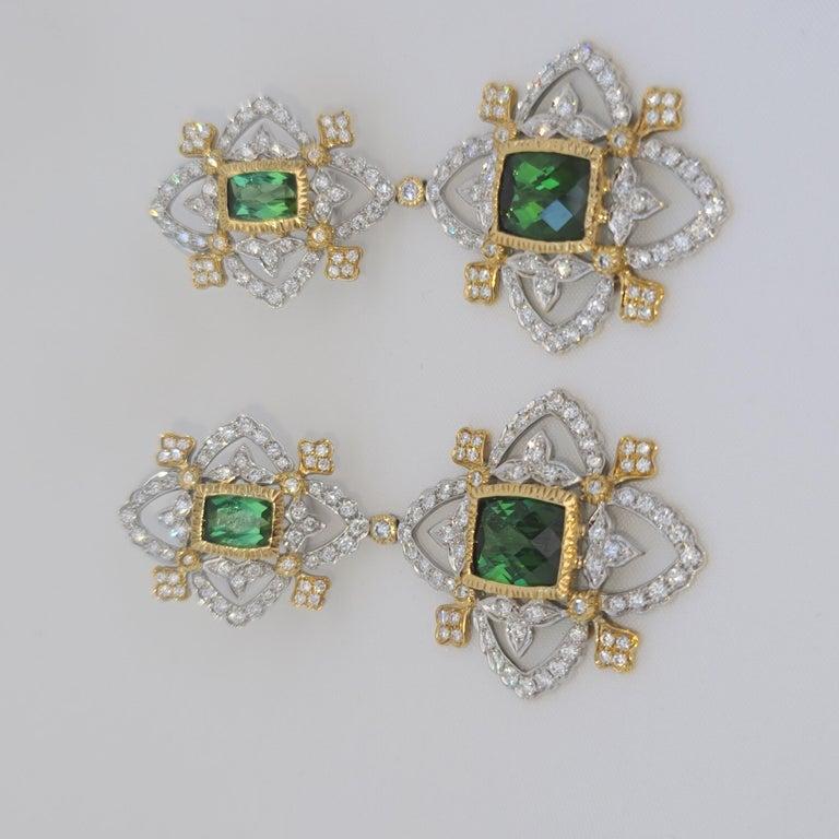18K WY Gold Diamonds and Green Tourmaline Goddess Drop Dangle Earrings One Piece For Sale 2