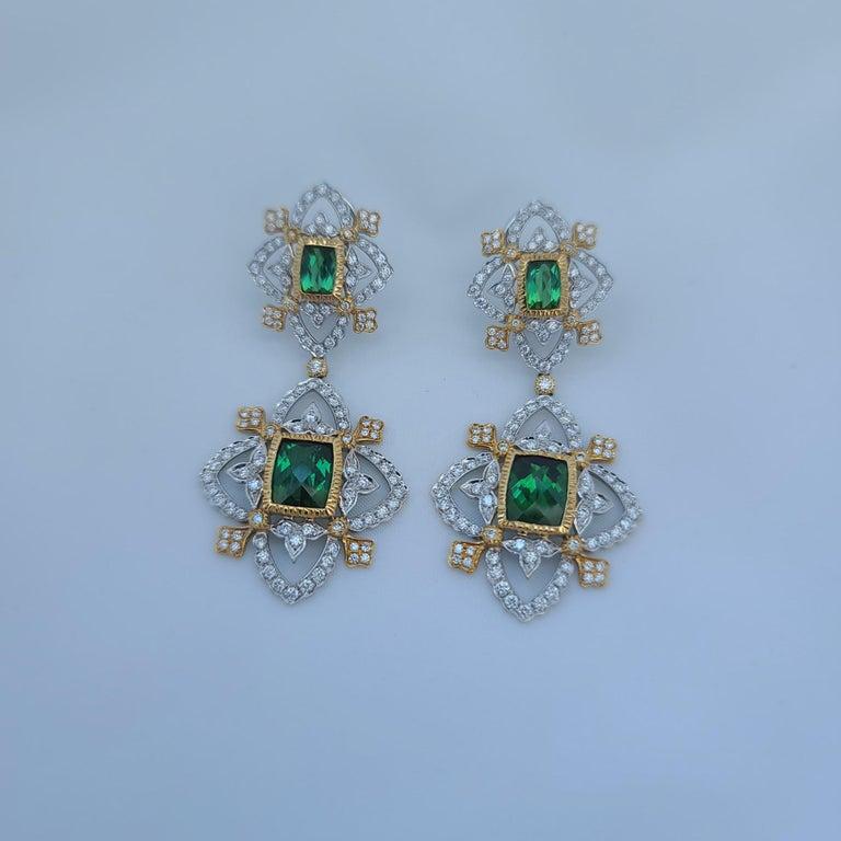 18K WY Gold Diamonds and Green Tourmaline Goddess Drop Dangle Earrings One Piece For Sale 3