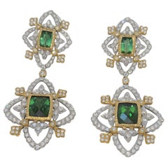 18K WY Gold Diamonds and Green Tourmaline Goddess Drop Dangle Earrings One Piece