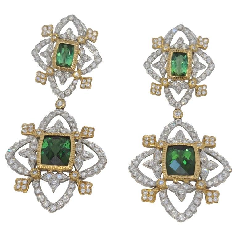 18K WY Gold Diamonds and Green Tourmaline Goddess Drop Dangle Earrings One Piece For Sale