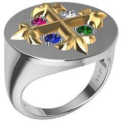 18K Yellow 18K White Fleur-de-Lis Diamond, Sapphire, Ruby Emerald Signet Ring