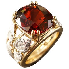 18k Yellow And White Gold Botanical Red Garnet And Diamonds Engagement Ring