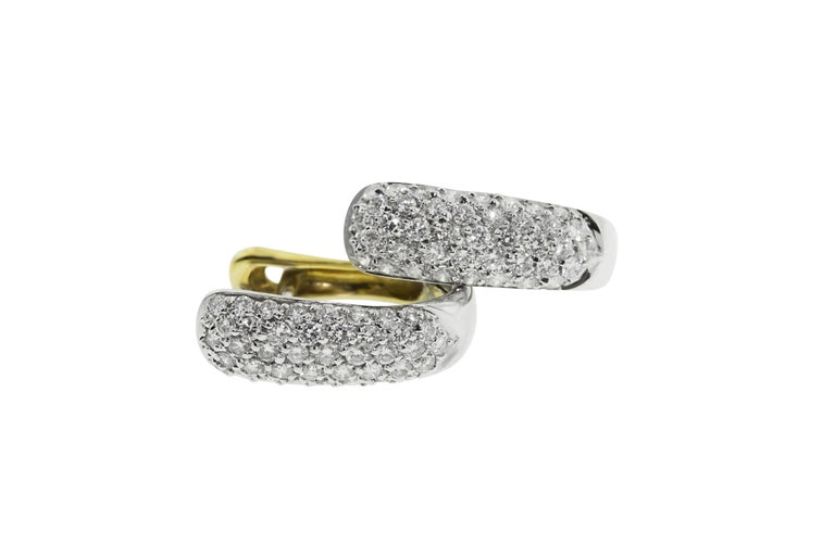 Round Cut 18 Karat Yellow and White Gold Diamond 2 in 1 Hoop and Charm Earrings For Sale