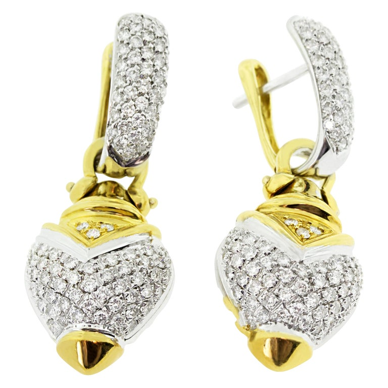 18 Karat Yellow and White Gold Diamond 2 in 1 Hoop and Charm Earrings For Sale