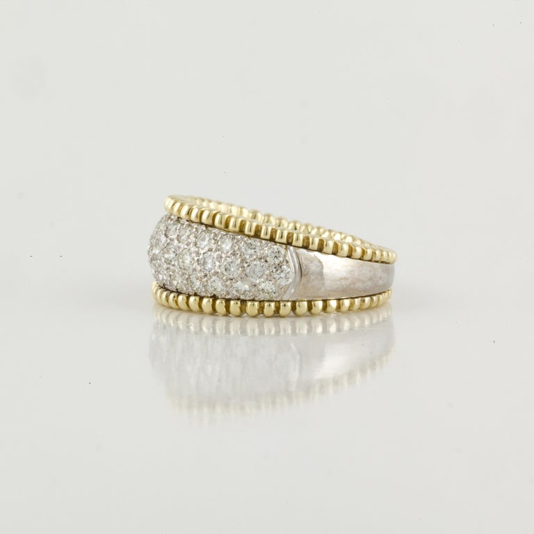 18 Karat Yellow and White Gold Diamond Band Ring In Good Condition For Sale In Houston, TX