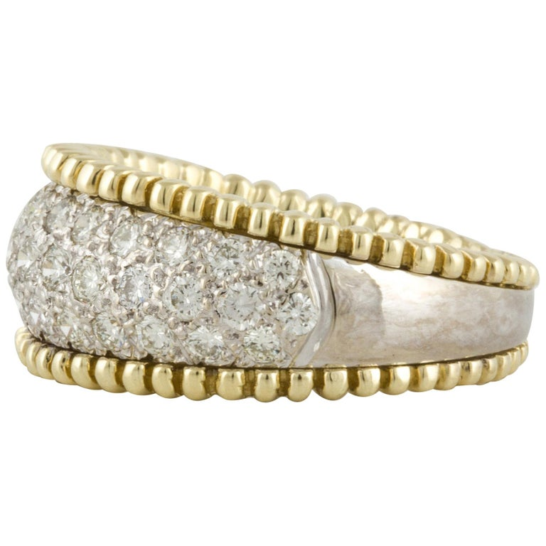 18 Karat Yellow and White Gold Diamond Band Ring For Sale