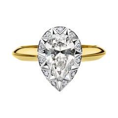 18k Yellow and White Gold Diamond Cocktail Ring w 1.57 Carat Pear Shape Diamond