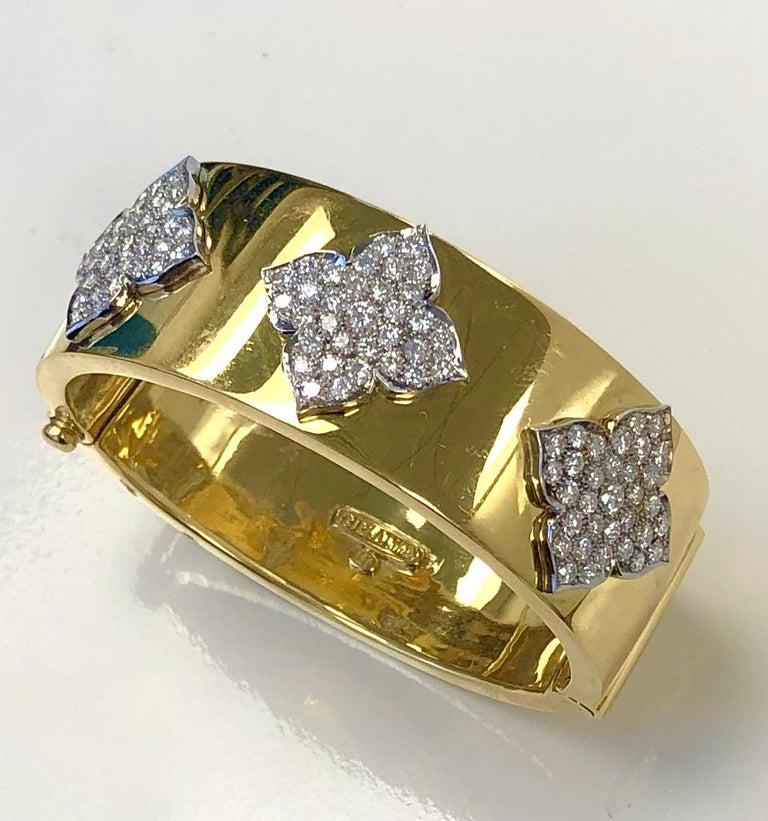 Contemporary 18 Karat Yellow and White Gold Diamond Cuff-Bangle Bracelet For Sale
