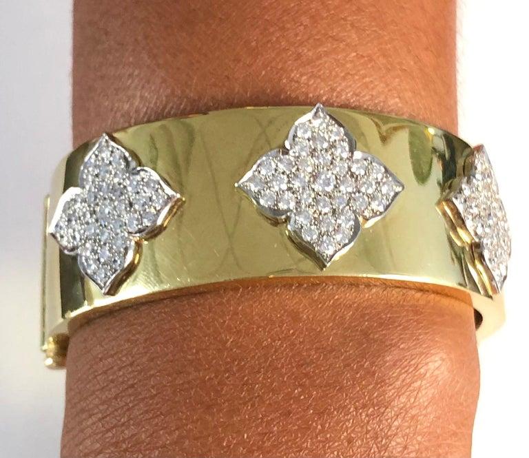 Women's 18 Karat Yellow and White Gold Diamond Cuff-Bangle Bracelet For Sale