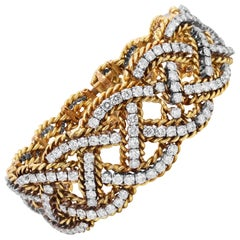 18K Yellow and White Gold Diamond Graduated Links Twisted Style Retro Bracelet