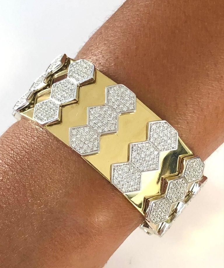 Women's 18 Karat Yellow and White Gold Diamond Spring Bangle Bracelet For Sale