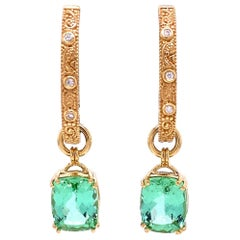 18k Yellow and White Gold Reversable Hoops with Mint Green Tourmaline Jackets