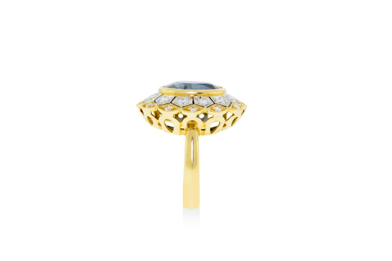 Art Deco 18 Karat Yellow and White Gold Sapphire and Diamond Ring For Sale