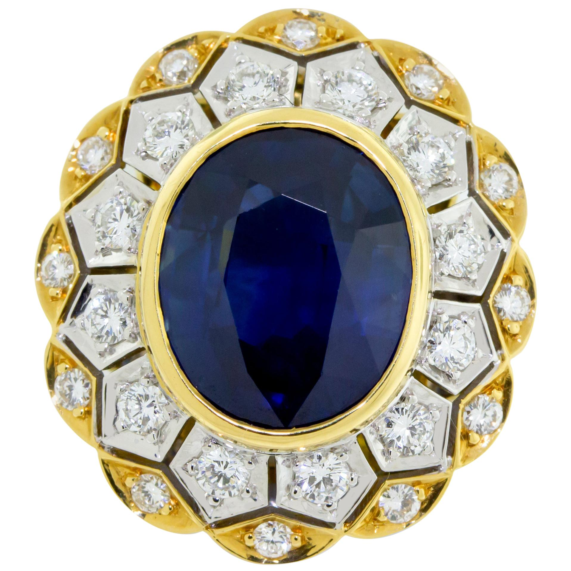 18 Karat Yellow and White Gold Sapphire and Diamond Ring