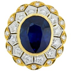 18 Karat Yellow and White Gold Sapphire and Diamond Ring