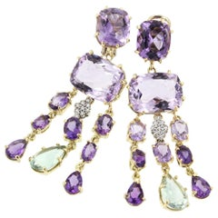 18k Yellow and White Gold with Amethyst Prasiolite and White Diamonds Earrings