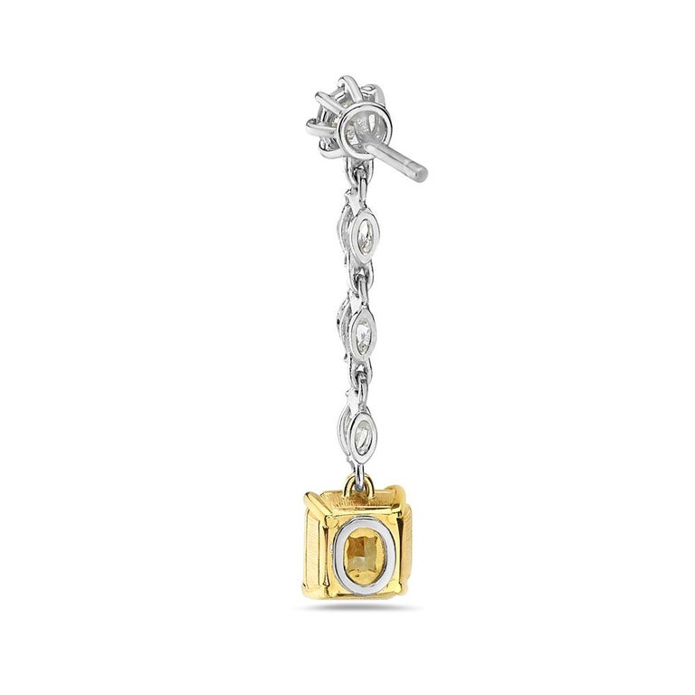Contemporary 18 Karat Yellow and White Gold Yellow Diamond Dangle Earrings For Sale